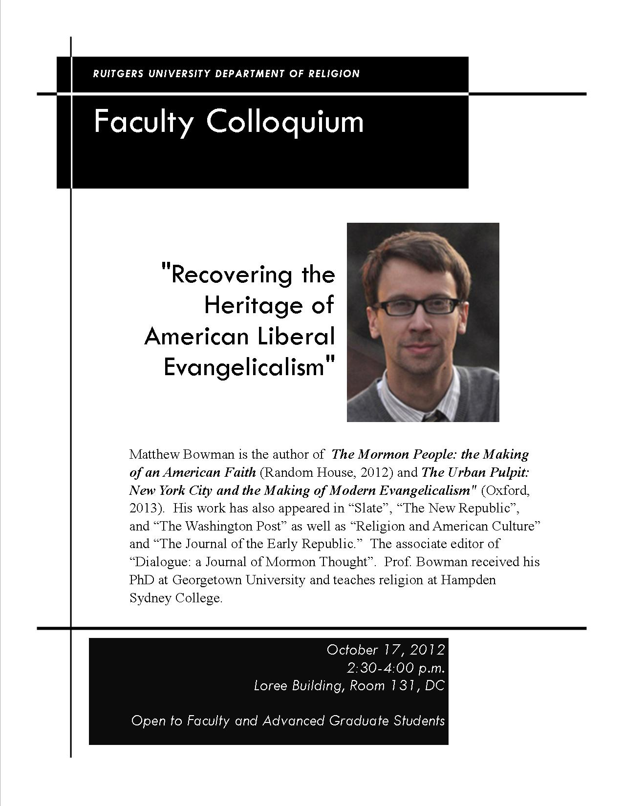 """October 17, 2012 (Faculty Colloquium): """"Recovering the ..."""