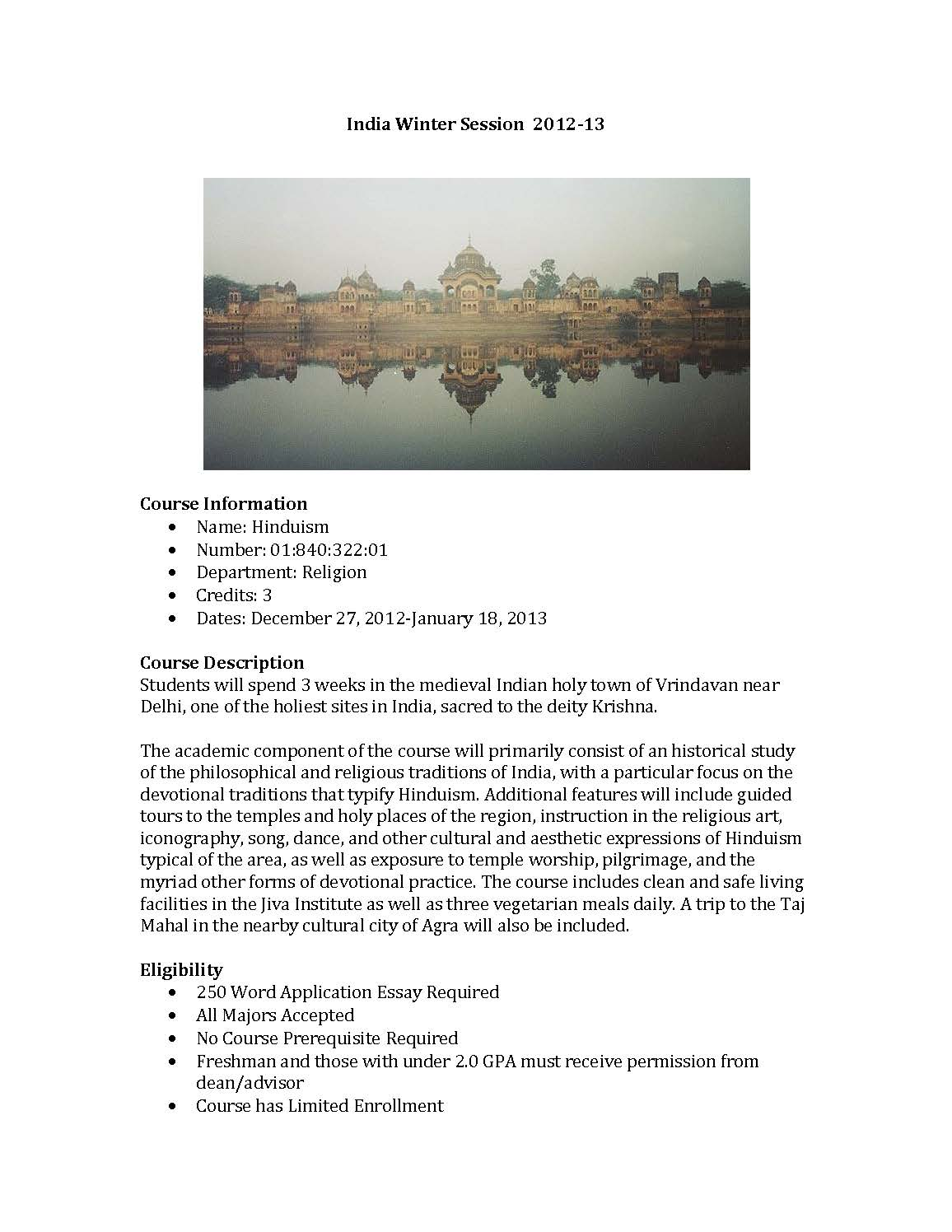 Study Abroad in India, Winter 2013